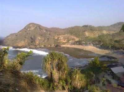 rute, hotel, penginapan, camping area di pantai siung
