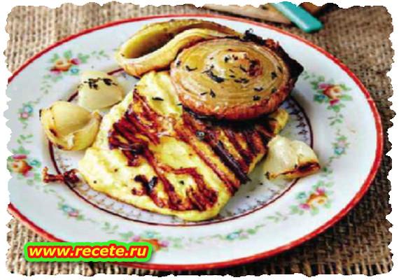 Honey-roasted onion with haloumi
