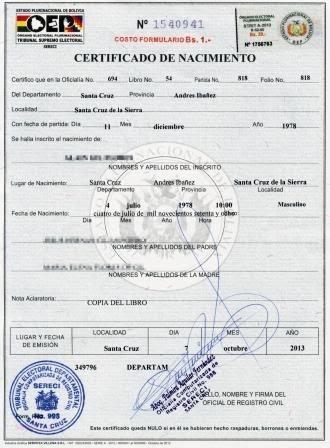 Bolivia: Requisitos para obtener Certificado de Nacimiento por primera vez en menores de 0 a 12 años