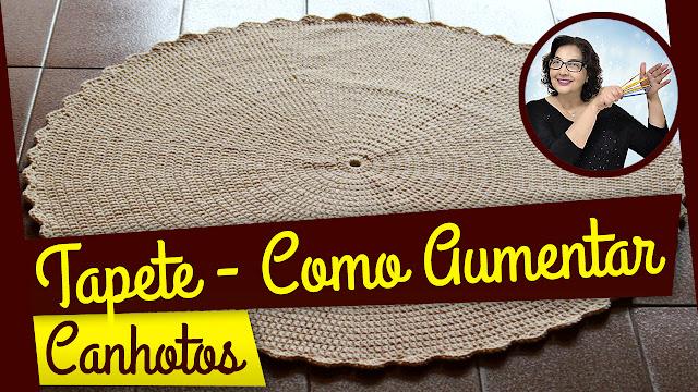 edinir croche ensina Canhotos - Como aumentar o tapete de crochê redondo com edinir croche youtube no blo aprender croche e no curso de croche facebook