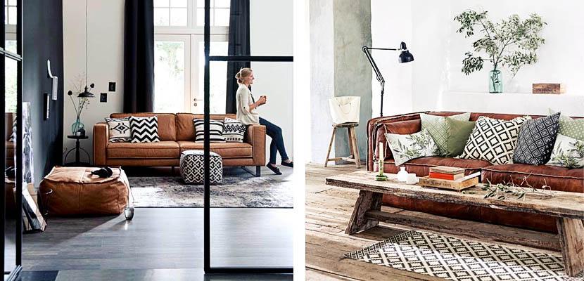 Sofás y butacas en cuero marrón para tu salón