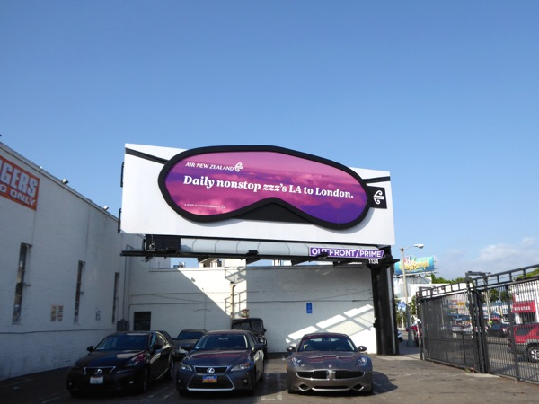 Air New Zealand sleep mask billboard