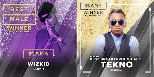 Wizkid, Tekno and yemi alade are the winners of the MTV Africa Music Awards