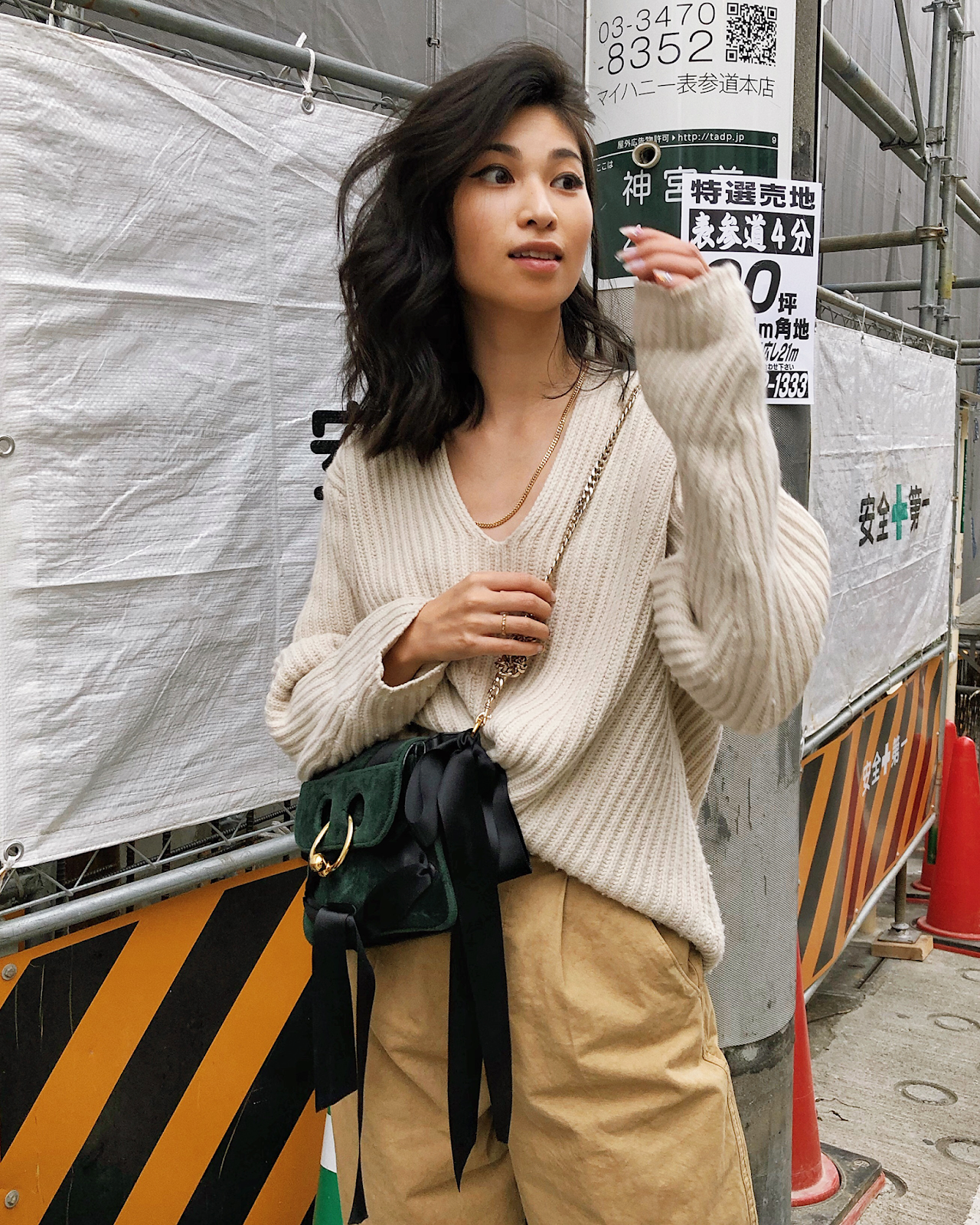 Beige monochromatic outfit in Tokyo, oversized Acne Studios sweater and beige pants, simple beige monochromatic outfit, - FOREVERVANNY