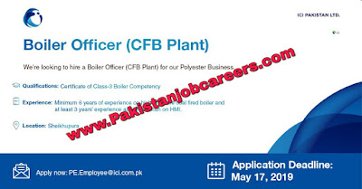 ICI Pakistan Limited Jobs 2019 for Boiler Officer Latest