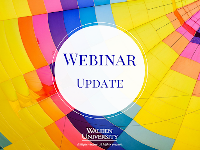 Colorful image with Webinar Update text in center