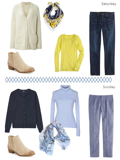 Two outfits for an autumn weekend, in shades of blue, yellow and cream