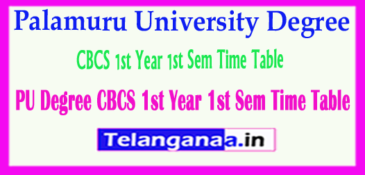 PU UG Palamuru University Degree CBCS 1st Year 1st Sem 2018 Time Table