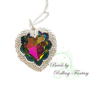 Kettenanhänger - Sparkle Heart in Crystal Vitrail Medium und Silber