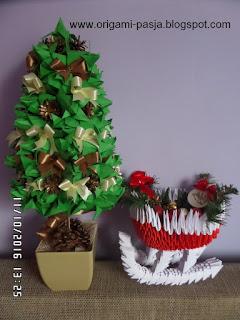 sanie, mikołaj, ozdoba, origami 3d, modułowe, święta, boże narodzenie, papier, czerwony, biały, prezent, stroik, na stół,