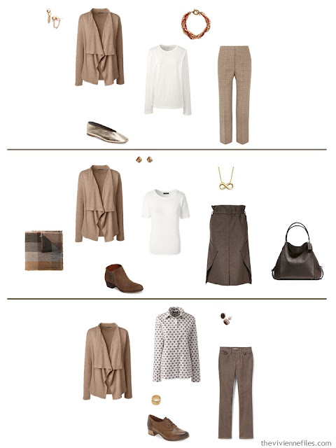 3 ways to wear a vicuna cardigan from a work capsule wardrobe in shades of brown