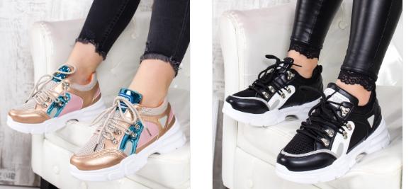 Adidasi fashion femei moderni negri, aurii cu talpa groasa