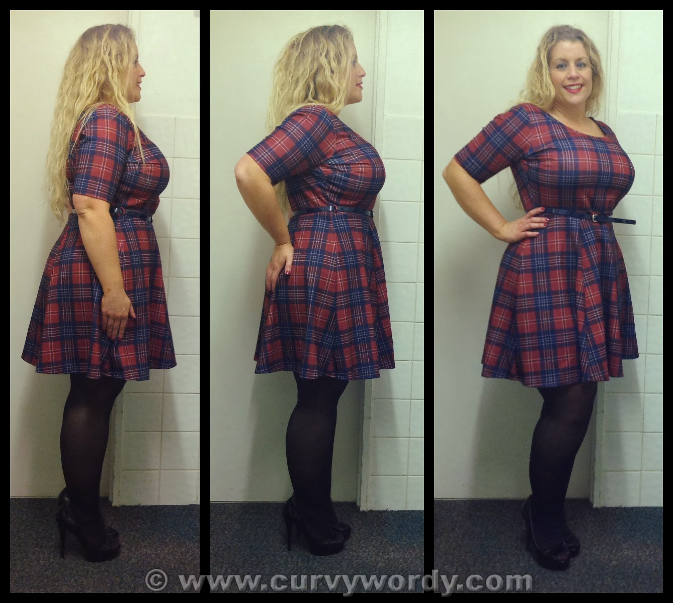db82a54cf6 Pink Clove Tartan Skater Dress 18 - Curvy Wordy