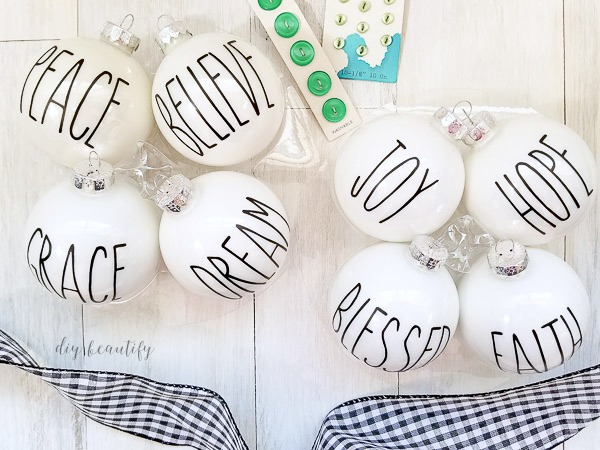 easy Rae Dunn inspired ornaments | diy beautify - White Christmas
