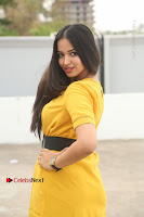 Actress Poojitha Stills in Yellow Short Dress at Darshakudu Movie Teaser Launch .COM 0296.JPG