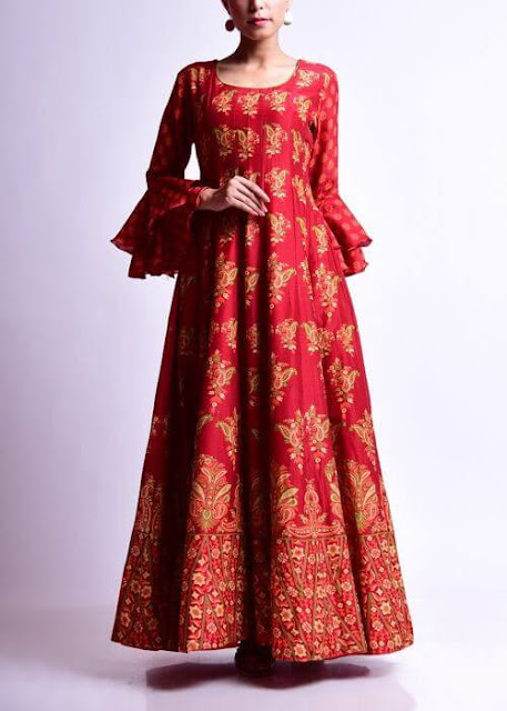 Red Hot Long Kurti with Deep Neck & Beautiful Sleeves