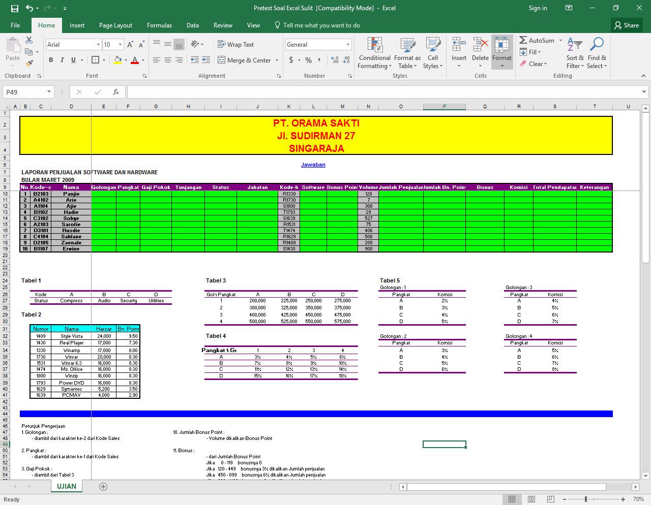 Soal Praktek Excel Dan Jawabannya Soal Praktek Microsoft