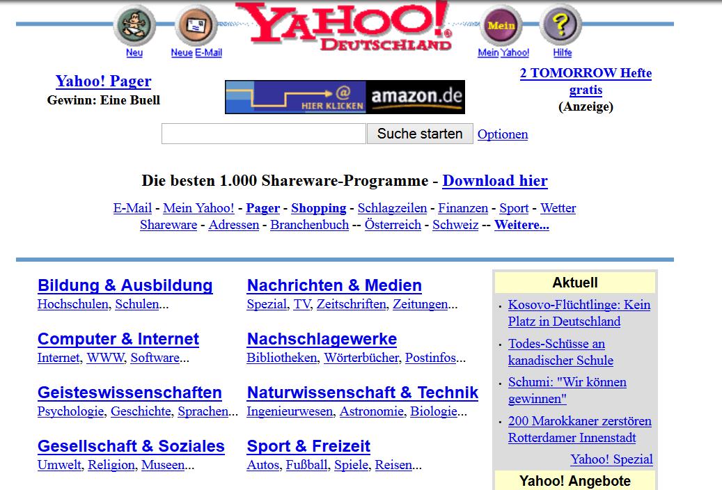 Die Suchmaschine Yahoo im Jahr 1999.