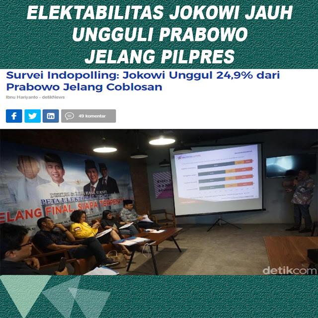Survei Indopolling: Jokowi Unggul 24,9% dari Prabowo Jelang Coblosan