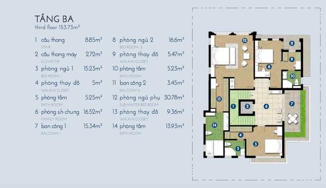 Thiết kế chi tiết tầng 3 biệt thự Bạch Kim