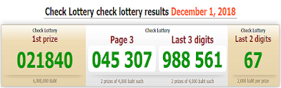 Thai Lottery Result Live For 01-12-2018