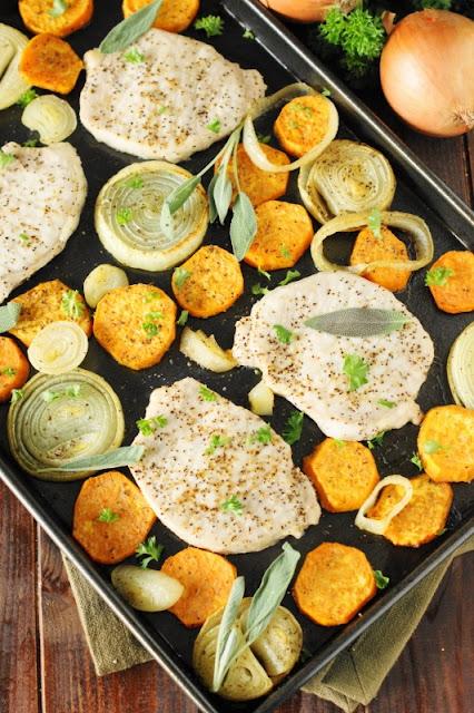 Baked Pork Chops & Sweet Potatoes Sheet Pan Supper - a tasty qui