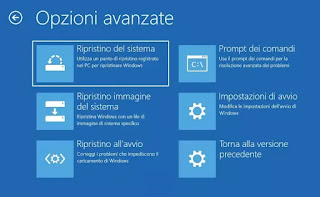 avvio avanzato windows 10
