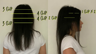 clip in hair extension placements, where to place hair extensions, yelloow hair extensions, how to hair extensions, how to clip in hair extensions