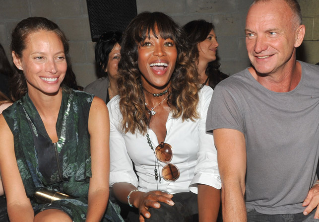 Christy+Turlington+Naomi+Campbell+y+Sting+en+el+front+row