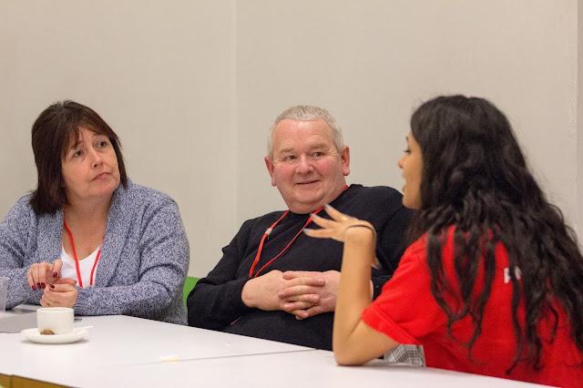 Student ambassador answering parents questions