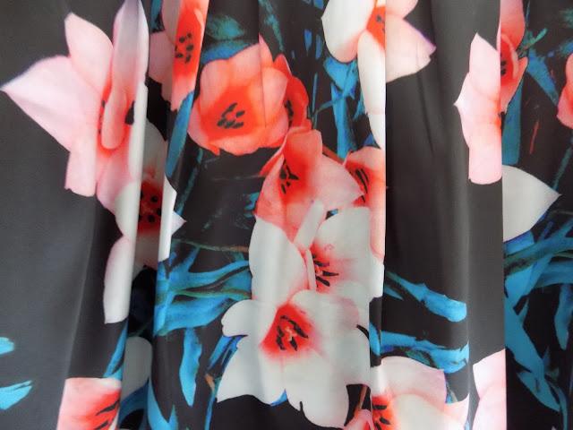 Floral satin skirt