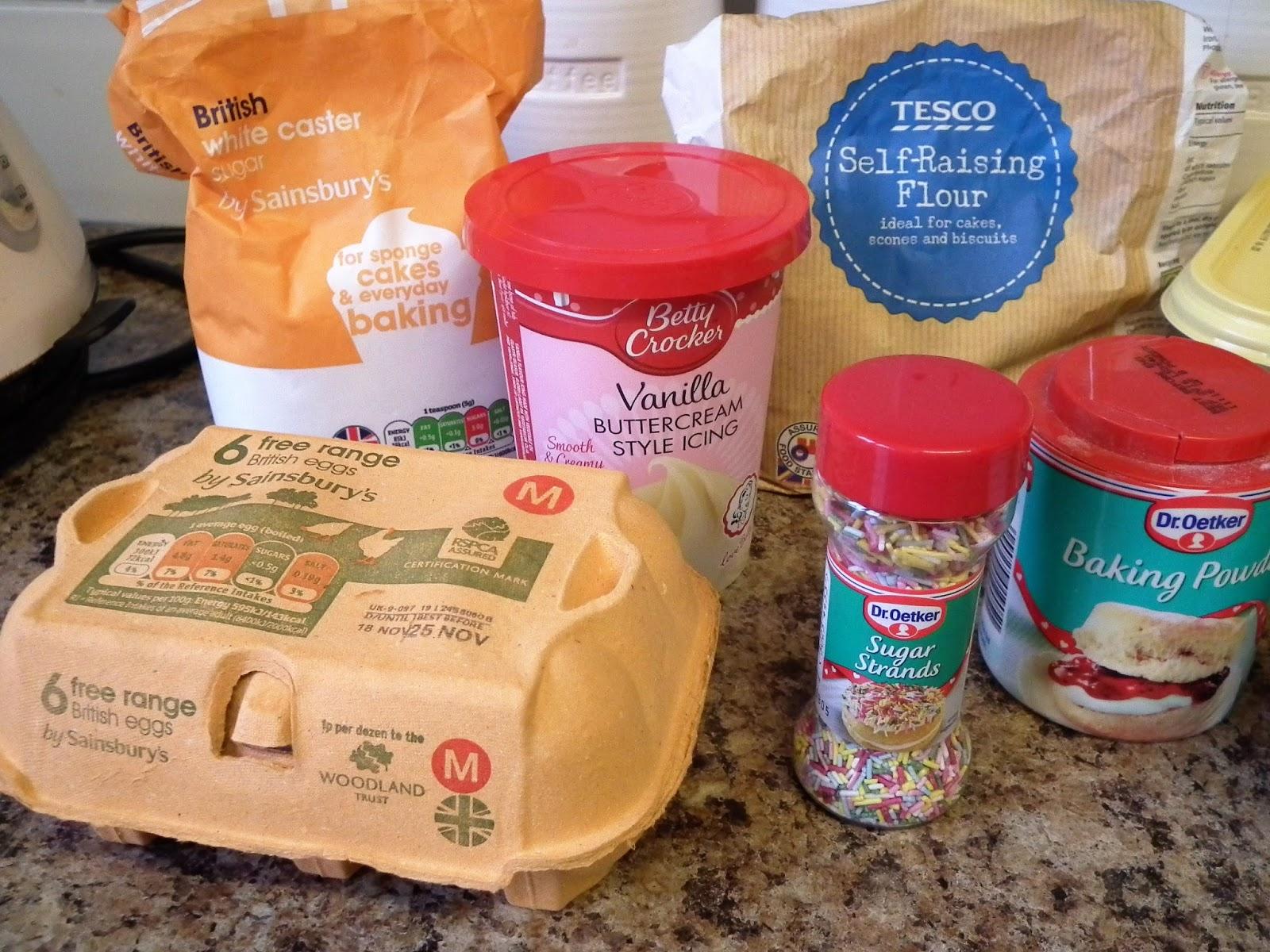 Baking Ingredients for Cupcakes