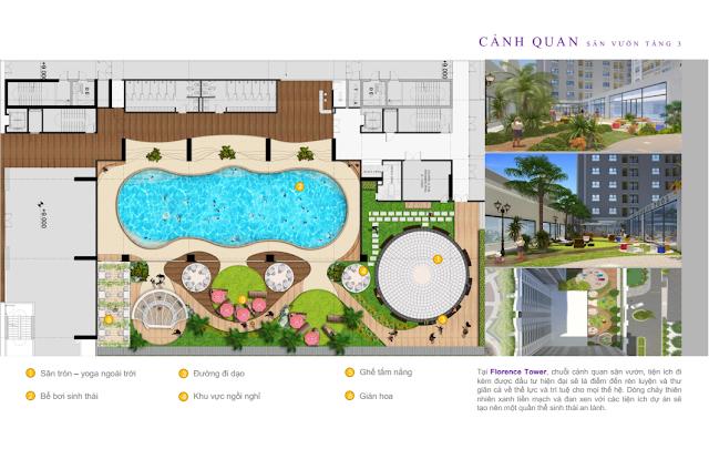 Thiết kế khu bể bơi Florence Mỹ Đình
