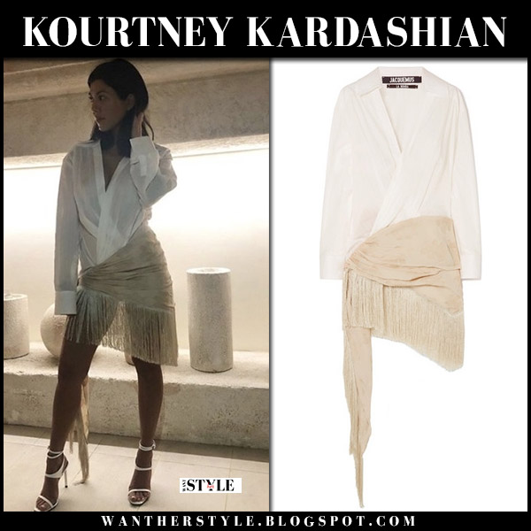 Kourtney Kardashian in white fringed shirt dress jacquemus summer style june 25