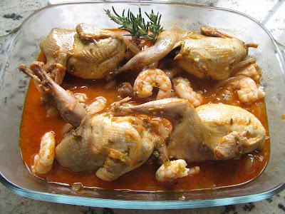 Codornices en salsa con langostinos Thermomix