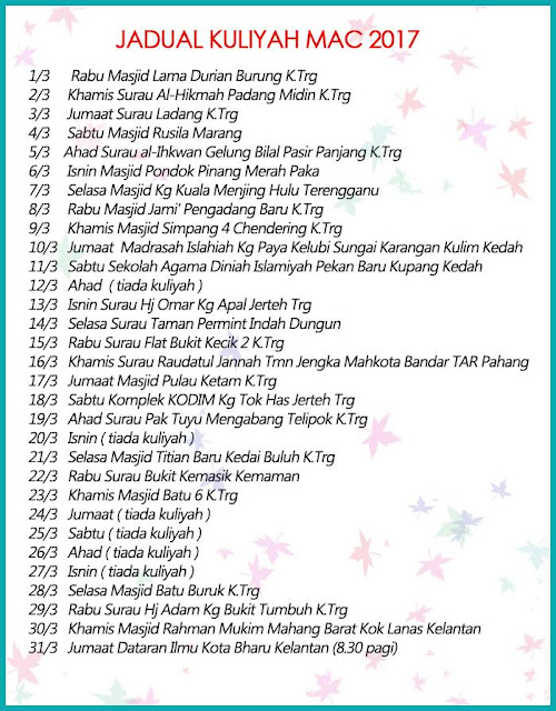 Jadual Kuliah Ustaz Azhar Idrus (UAI) MAC 2017