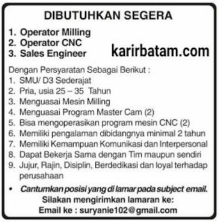 Lowongan Kerja Operator Milling dan Operator CNC