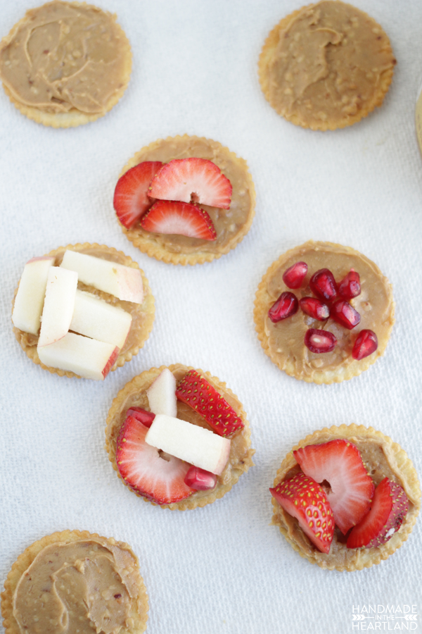 Get creative with after school snacks for kids with peanut butter and fruit!