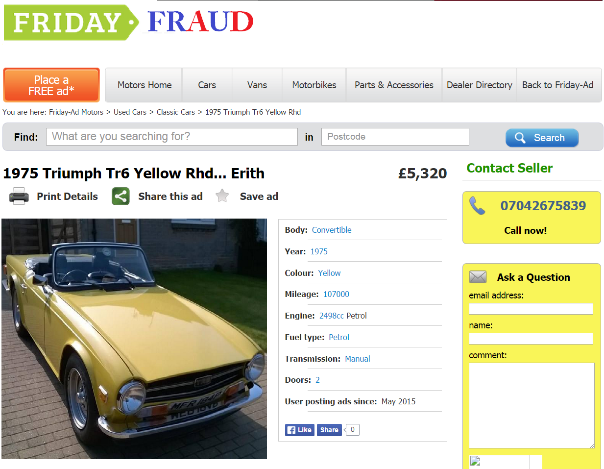 EBAY SCAM : 1975 TRIUMPH TR6 YELLOW   MFR184P - Fraud - MFR