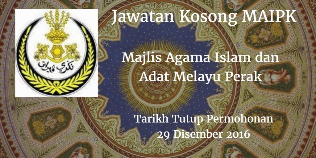 Jawatan Kosong MAIPK 29 Disember 2016