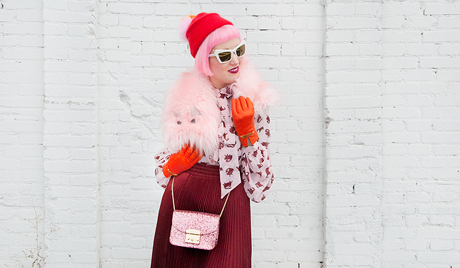 winter look, pink and burgundy, cat print