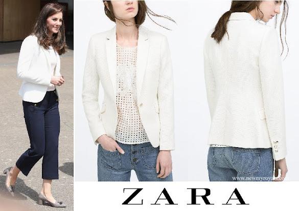 Kate Middleton wore ZARA Ivory One Button Blazer