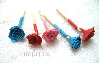 Paper roses with stems