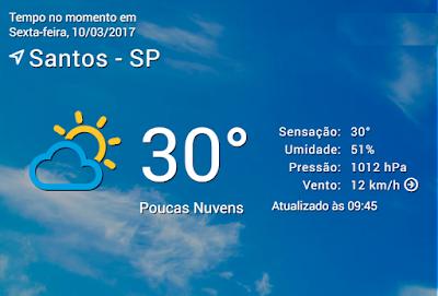 Previsão do Tempo em Santos no dia de hoje