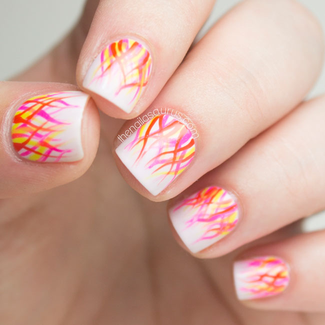 Abstract Flames Nail Art // The Nailasaurus