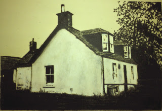 Little Keithock Farmhouse, Near Brechin, Angus, Scotland, charcoal and conte by F. Lennox Campello, 1990