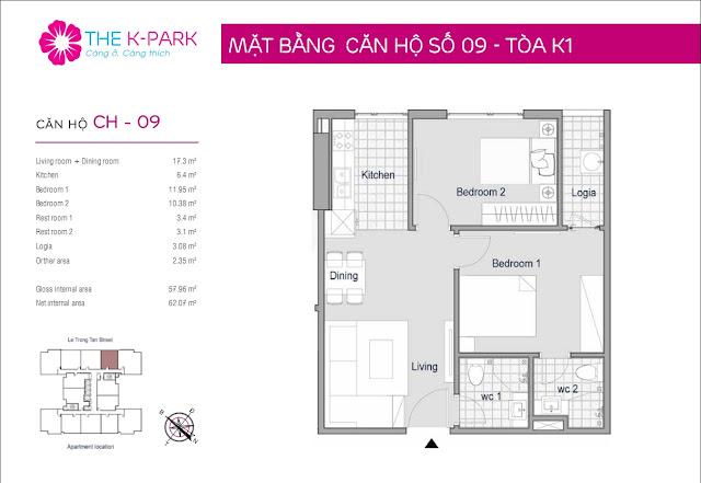 Thiết kế căn 09 chung cư The K-Park