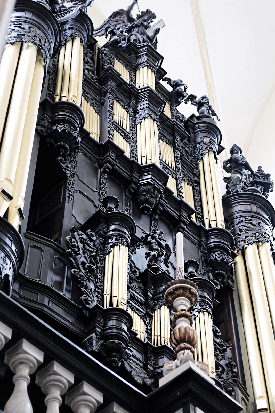 Ornate Black and Gold Organ Church