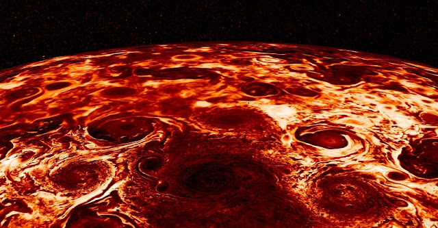 Eight massive storms form an octagon around a storm at the center of Jupiter's south pole—the first look that scientists have gotten at the gas giant's poles. Courtesy ofNASA/SWRI/JPL/ASI/INAF/IAPS