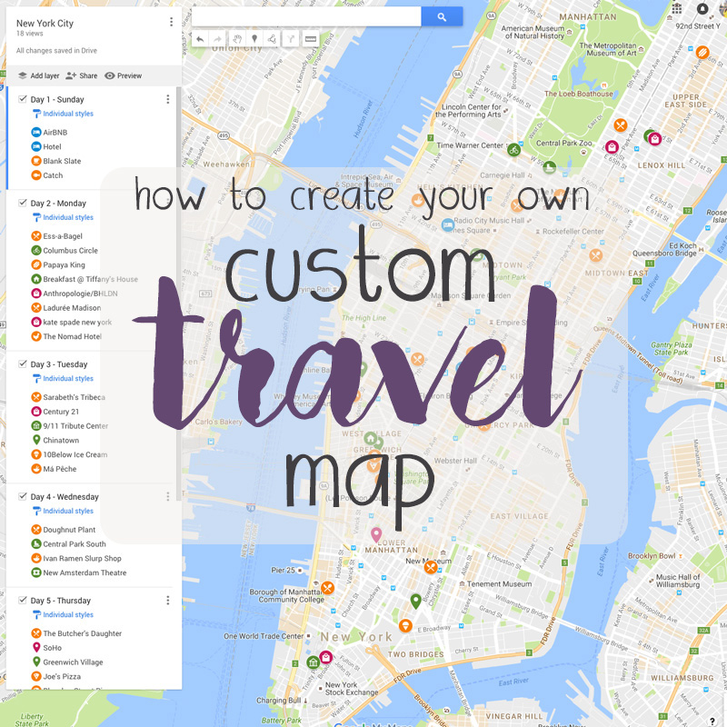 how to make a custom travel map
